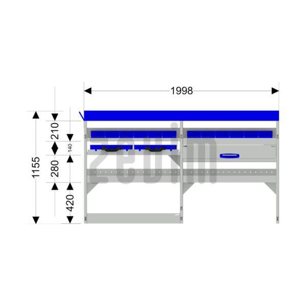 Zevim Bedrijfswageninrichting t.b.v. Ford Custom L1H1. Basis opstelling 4 links blauw. Met lades, opzetbak, magazijnbakken en zevim koffers. De afmetingen.