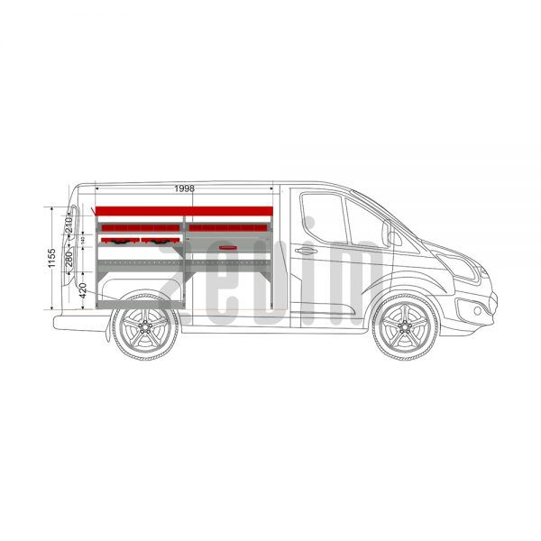 Zevim Bedrijfswageninrichting t.b.v. Ford Custom L1H1. Basis opstelling 4 links rood. Met lades, opzetbak, magazijnbakken en zevim koffers.
