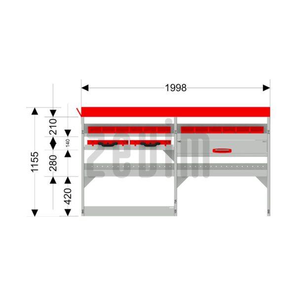 Zevim Bedrijfswageninrichting t.b.v. Ford Custom L1H1. Basis opstelling 4 links rood. Met lades, opzetbak, magazijnbakken en zevim koffers. De afmetingen.