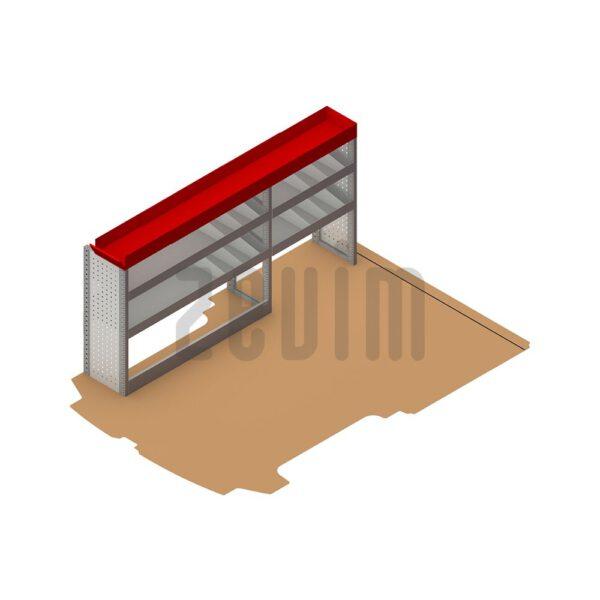 Zevim Bedrijfswageninrichting voor de Ford Custom L1H1. Budget opstelling 1, linkerkant van de auto, plaatsing ten opzichte van een vloerplaat.