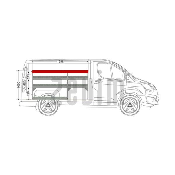 Zevim Bedrijfswageninrichting voor de Ford Custom L1H1. Budget opstelling 1, linkerkant van de auto, zijaanzicht.