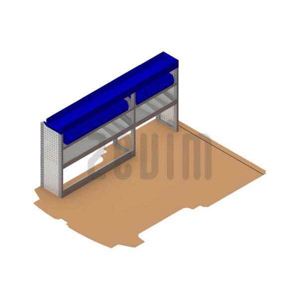 Zevim Bedrijfswageninrichting voor de Ford Custom L1H1. Budget opstelling 2, linkerkant van de auto, plaatsing ten opzichte van een vloerplaat, met magazijnbakken.