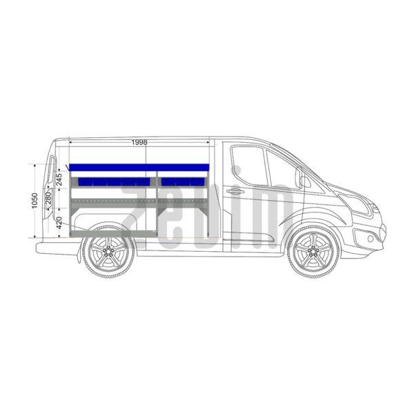 Zevim Bedrijfswageninrichting voor de Ford Custom L1H1. Budget opstelling 2, linkerkant van de auto, zijaanzicht.