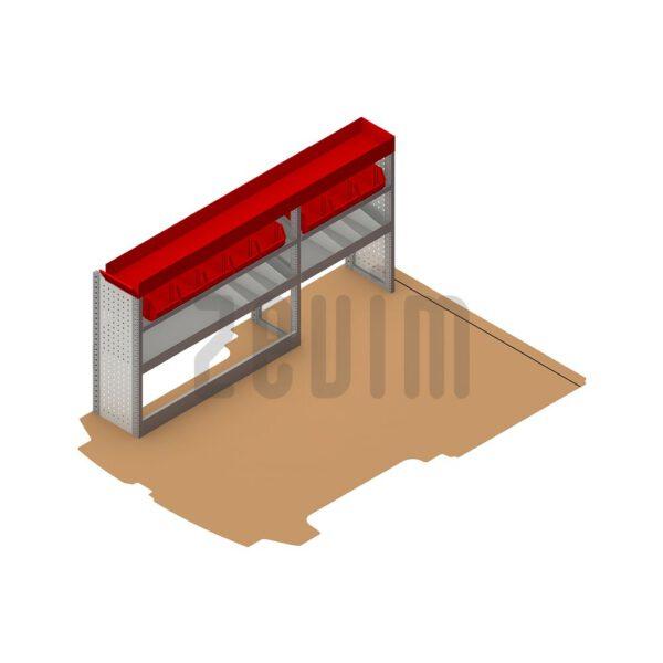 Zevim Bedrijfswageninrichting voor de Ford Custom L1H1. Budget opstelling 2, linkerkant van de auto, plaatsing ten opzichte van een vloerplaat. Met rode magazijnbakken en opzetbak.
