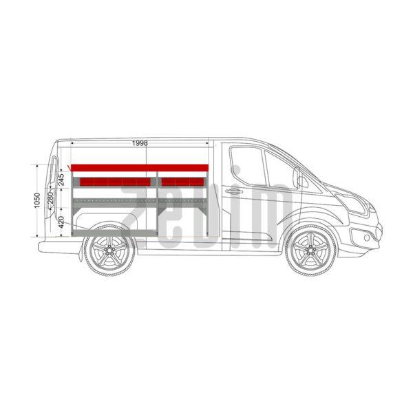 Zevim Bedrijfswageninrichting voor de Ford Custom L1H1. Budget opstelling 2, linkerkant van de auto. Met rode magazijnbakken en opzetbak.