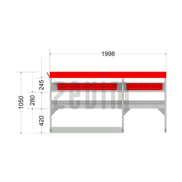 Zevim Bedrijfswageninrichting voor de Ford Custom L1H1. Budget opstelling 2, linkerkant van de auto, met afmetingen. Met rode magazijnbakken en opzetbak.