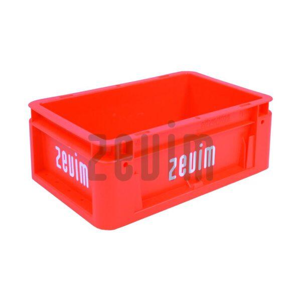 Zevim kunstofbakken van Euronorm rood, met de afmeting 200x300x120.