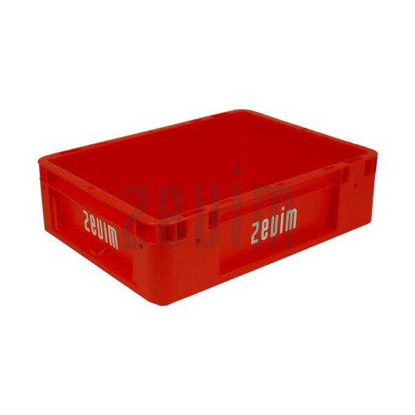 Zevim kunstofbakken van Euronorm rood, met de afmeting 300x400x120.