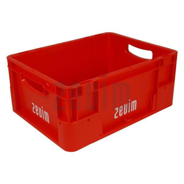 Zevim kunstofbakken van Euronorm rood, met de afmeting 300x400x180.