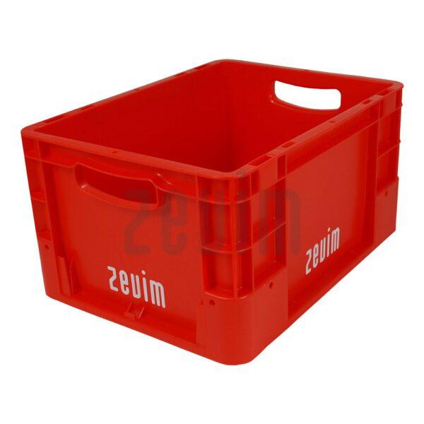 Zevim kunstofbakken van Euronorm rood, met de afmeting 300x400x220.