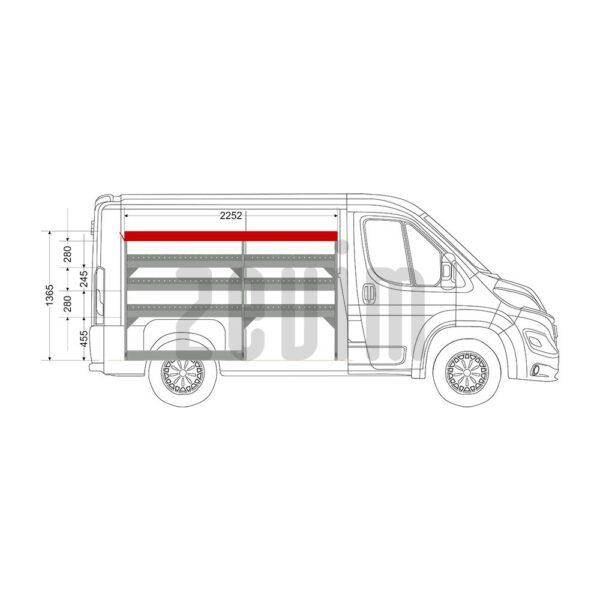 Zevim Bedrijfswageninrichting voor de Citroën Jumper L1H1. Budget opstelling 1, linkerkant van de auto, zijaanzicht.