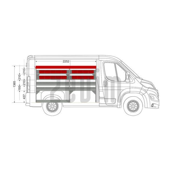 Zevim Bedrijfswageninrichting voor de Citroën Jumper L1H1. Budget opstelling 2, linkerkant van de auto, zijaanzicht.