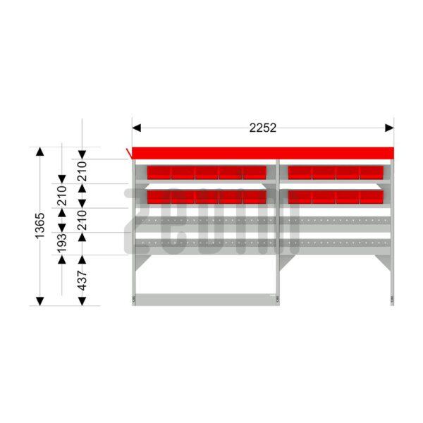 Zevim Bedrijfswageninrichting voor de Citroën Jumper L1H1. Budget opstelling 2, linkerkant van de auto, met afmetingen.