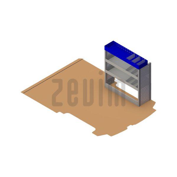 Zevim Bedrijfswageninrichting voor de Ford Custom L1H1. Budget opstelling 10, rechterkant van de auto, plaatsing ten opzichte van een vloerplaat.