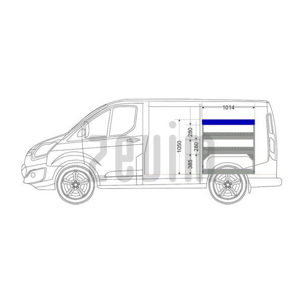 Zevim Bedrijfswageninrichting voor de Ford Custom L1H1. Budget opstelling 10, rechterkant van de auto, zijaanzicht.