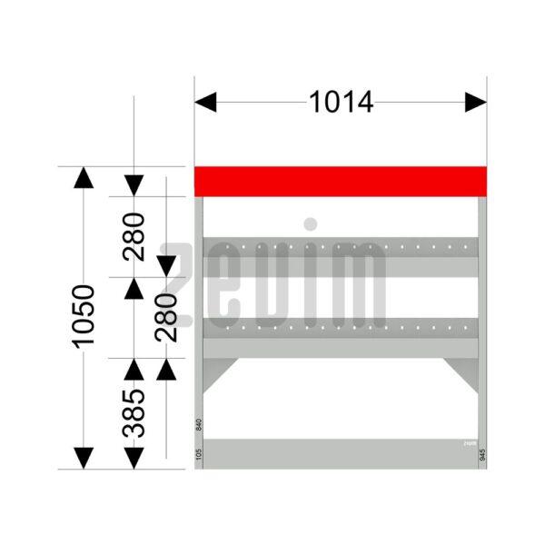 Zevim Bedrijfswageninrichting voor de Ford Custom L1H1. Budget opstelling 10, rechterkant van de auto, met afmetingen.