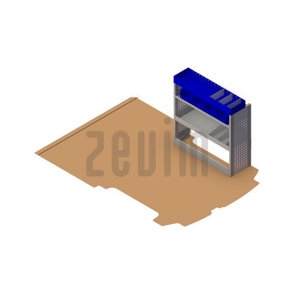 Zevim Bedrijfswageninrichting voor de Ford Custom L1H1. Budget opstelling 11, rechterkant van de auto, plaatsing ten opzichte van een vloerplaat.