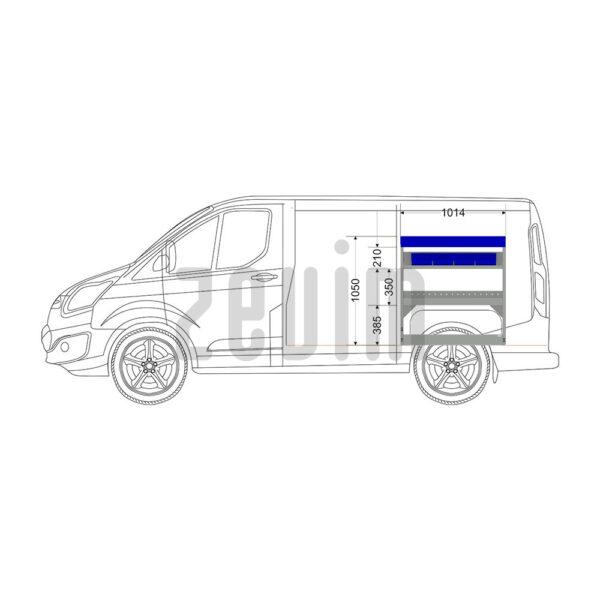 Zevim Bedrijfswageninrichting voor de Ford Custom L1H1. Premium opstelling 5 blauw, rechterkant van de auto, zijaanzicht.