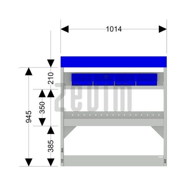 Zevim Bedrijfswageninrichting voor de Ford Custom L1H1. Budget opstelling 11, rechterkant van de auto, met afmetingen.