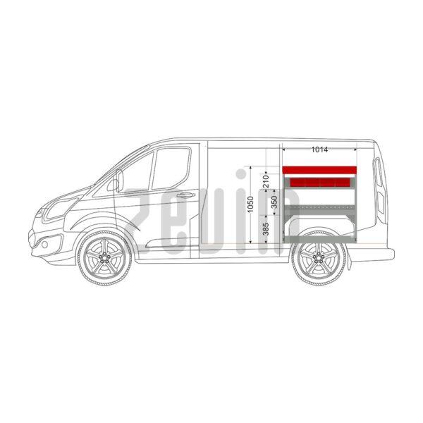 Zevim Bedrijfswageninrichting voor de Ford Custom L1H1. Budget opstelling 11, rechterkant van de auto, zijaanzicht.