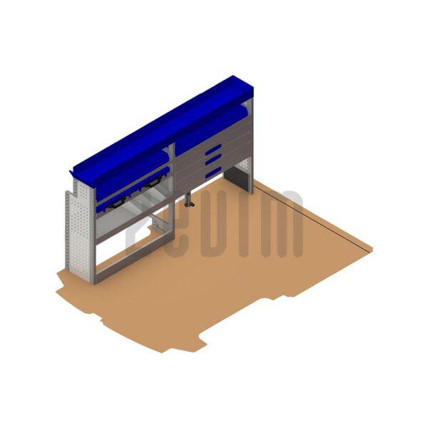 Zevim Bedrijfswageninrichting t.b.v. Ford Custom L1H1. Premium opstelling 5 blauw, linkerkant van de auto, plaatsing ten opzichte van een vloerplaat.