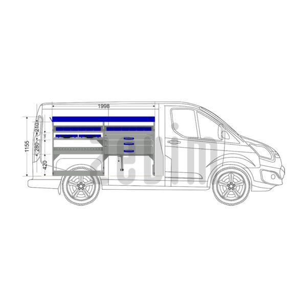 Zevim Bedrijfswageninrichting voor de Ford Custom L1H1. Premium opstelling 5 blauw, linkerkant van de auto, zijaanzicht.