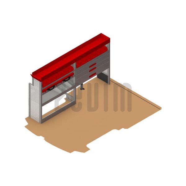 Zevim Bedrijfswageninrichting t.b.v. Ford Custom L1H1. Premium opstelling 5 rood, linkerkant van de auto, plaatsing ten opzichte van een vloerplaat.
