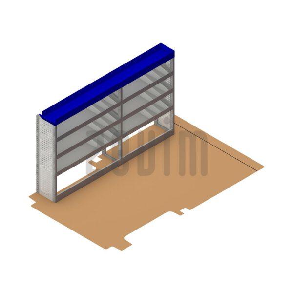 Zevim Bedrijfswageninrichting voor de Ford Transit L2H2. Budget opstelling 1, linkerkant van de auto, plaatsing ten opzichte van een vloerplaat.