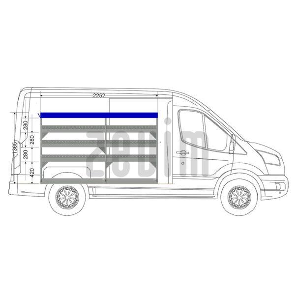 Zevim Bedrijfswageninrichting voor de Ford Transit L2H2. Budget opstelling 1, linkerkant van de auto, zijaanzicht