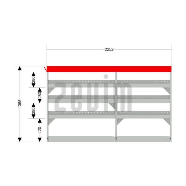 Zevim Bedrijfswageninrichting voor de Ford Transit L2H2. Budget opstelling 1, linkerkant van de auto, met afmetingen