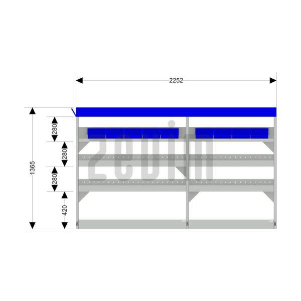 Zevim Bedrijfswageninrichting voor de Ford Transit L2H2. Budget opstelling 2, linkerkant van de auto, met afmetingen.