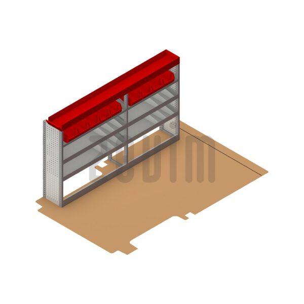 Zevim Bedrijfswageninrichting voor de Ford Transit L2H2. Budget opstelling 2, linkerkant van de auto, plaatsing ten opzichte van een vloerplaat.