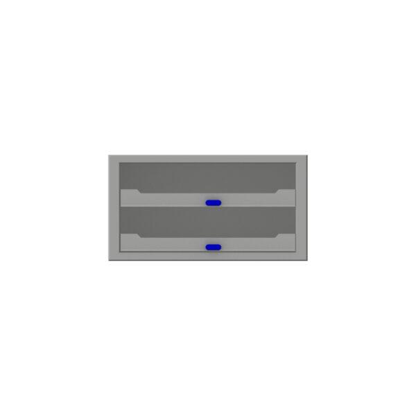 Zevim kofferkast met blauwe knoppen.