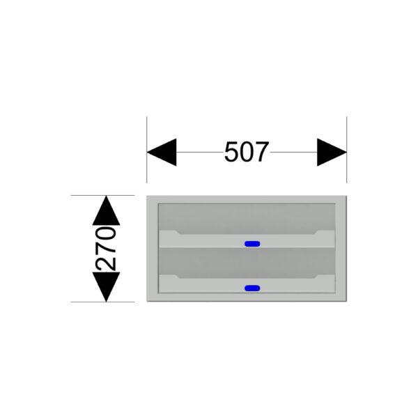 Afmetingen van de Zevim kofferkast met blauwe knoppen.