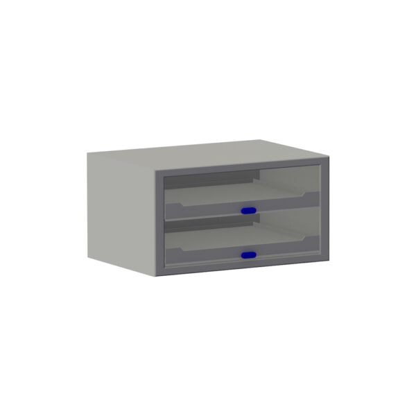 De Zevim kofferkast met blauwe knoppen van de zijkant gezien.