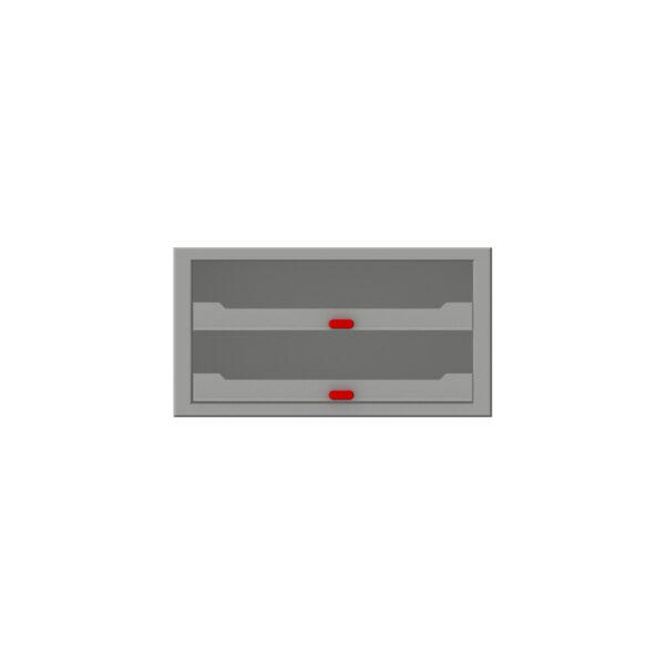 Zevim kofferkast met rode knoppen.