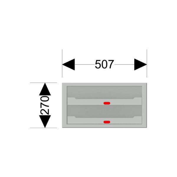 Afmetingen van de Zevim kofferkast met rode knoppen.