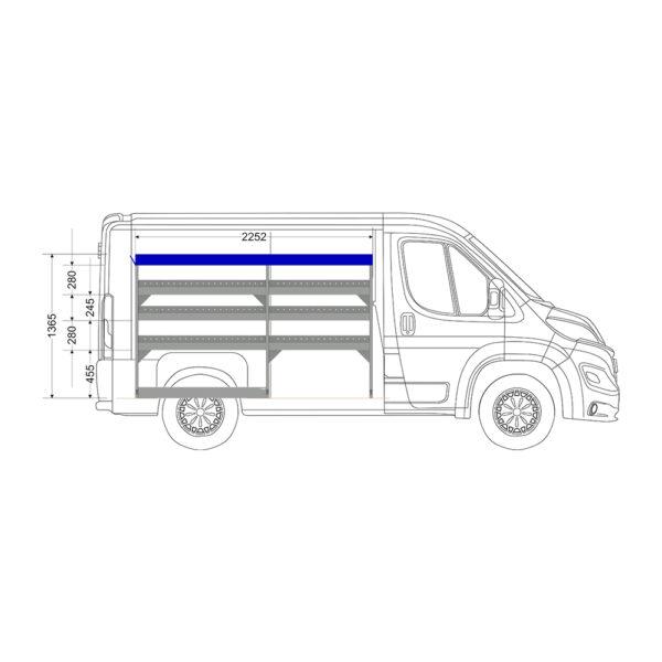 Zevim Bedrijfswageninrichting t.b.v. Peugeot Boxer L1H1. Budget opstelling 01 Links blauw met opzetbak, zijaanzicht
