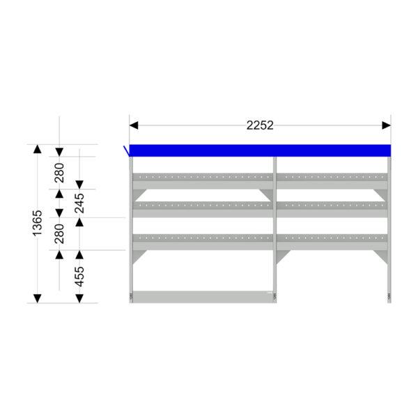 Zevim Bedrijfswageninrichting t.b.v. Peugeot Boxer L1H1. Budget opstelling 01 Links blauw met opzetbak, met afmetingen