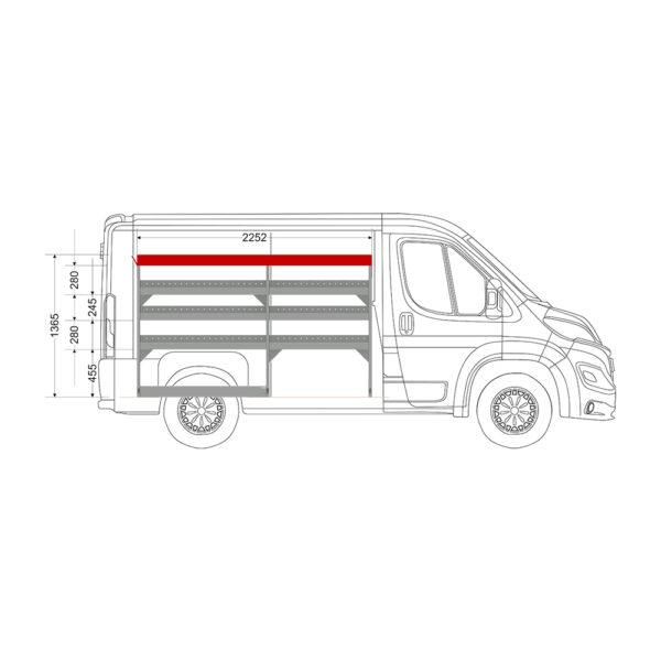 Zevim Bedrijfswageninrichting t.b.v. Peugeot Boxer L1H1. Budget opstelling 01 Links rood met opzetbak, zijaanzicht