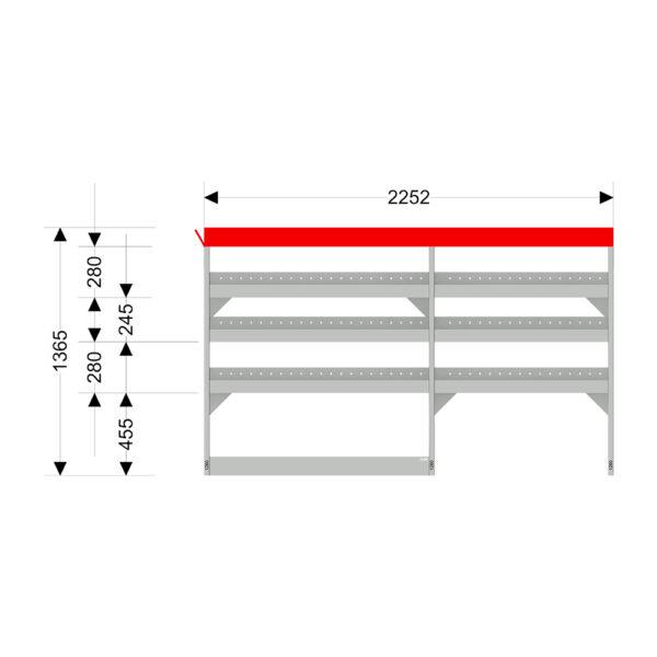 Zevim Bedrijfswageninrichting t.b.v. Peugeot Boxer L1H1. Budget opstelling 01 Links rood met opzetbak, met afmetingen