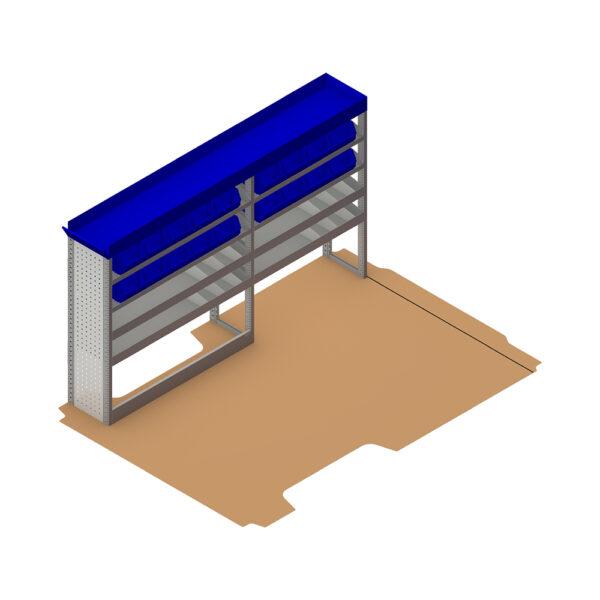 Zevim Bedrijfswageninrichting t.b.v. Peugeot Boxer L1H1. Budget opstelling 02 Links blauw met opzetbak en inzetbakken, plaatsing ten opzichte van de vloerplaat.