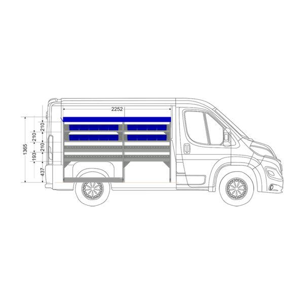 Zevim Bedrijfswageninrichting t.b.v. Peugeot Boxer L1H1. Budget opstelling 02 Links blauw met opzetbak en inzetbakken, zijaanzicht.