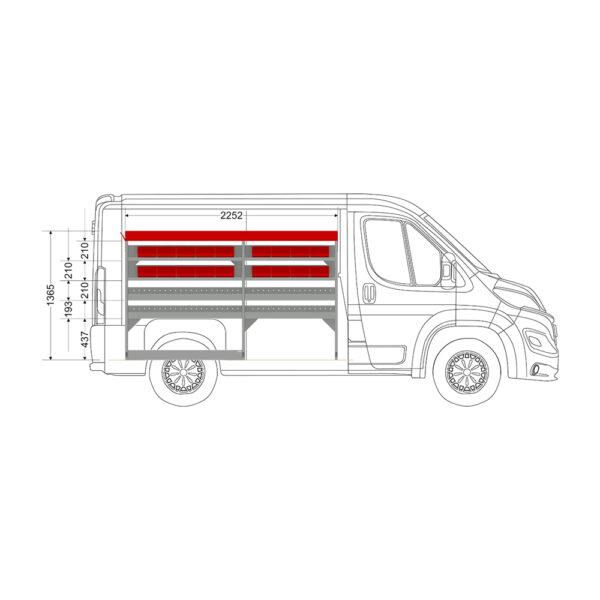 Zevim Bedrijfswageninrichting t.b.v. Peugeot Boxer L1H1. Budget opstelling 02 Links rood met opzetbak en inzetbakken, zijaanzicht.