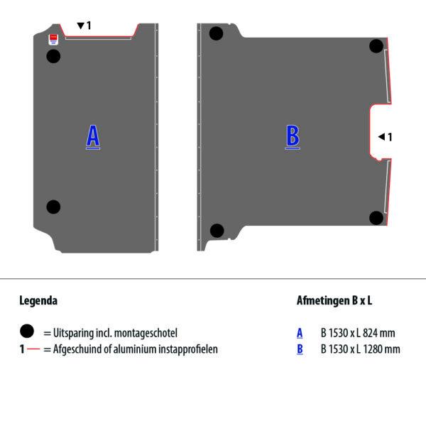 Tekening van de Zevim vloerplaat voor de Peugeot Expert, L1, SDR.