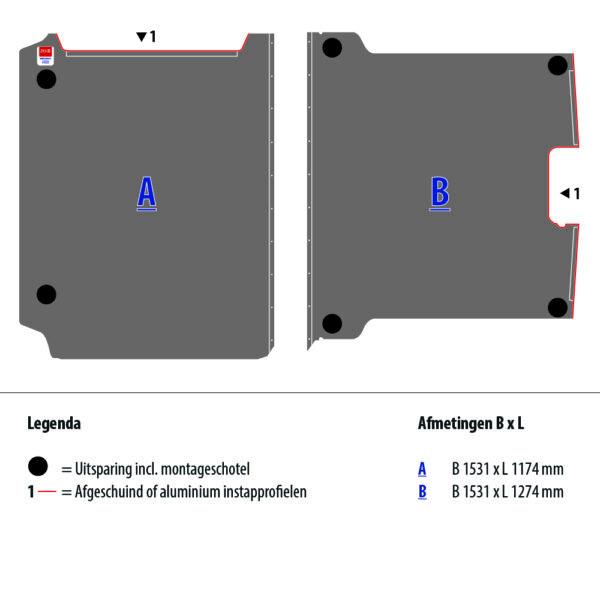 Tekening van de Zevim vloerplaat voor de Peugeot Expert, L2, SDR.