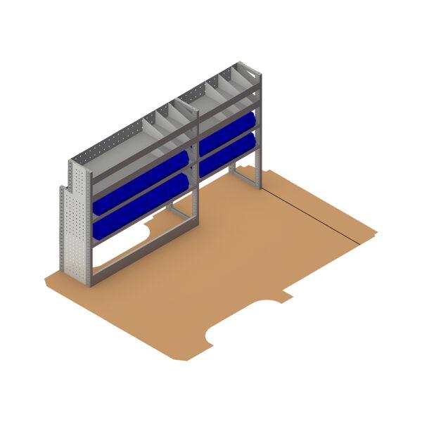 Zevim Bedrijfswageninrichting t.b.v. Mercedes Vito L2H1. Budget opstelling 01 Links blauw met magazijnbakken en verdeelschotten, plaatsing ten opzichte van de vloerplaat.