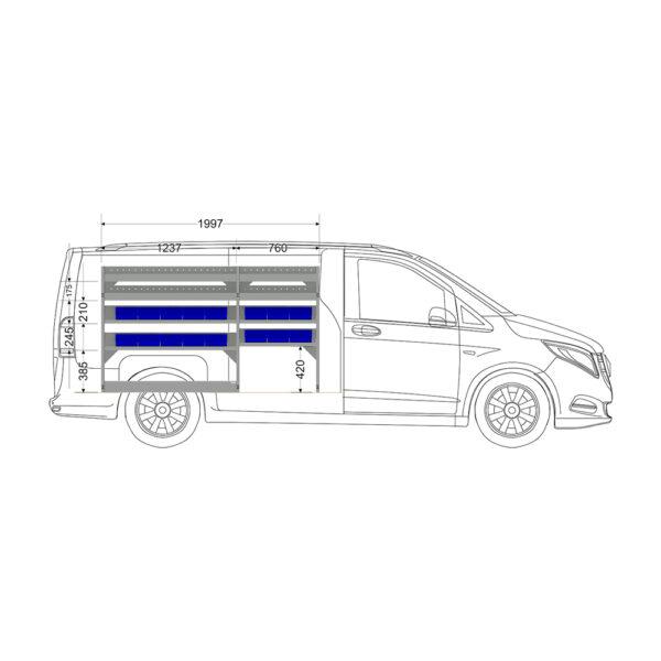 Zevim Bedrijfswageninrichting t.b.v. Mercedes Vito L2H1. Budget opstelling 01 Links blauw met magazijnbakken en verdeelschotten, zijaanzicht.