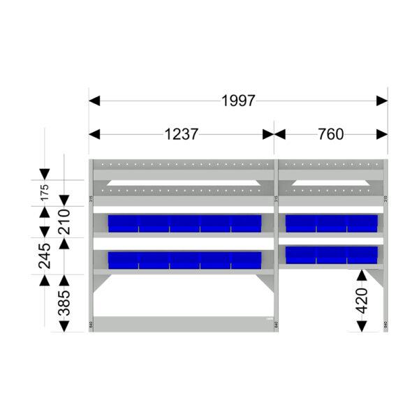 Zevim Bedrijfswageninrichting t.b.v. Mercedes Vito L2H1. Budget opstelling 01 Links blauw met magazijnbakken en verdeelschotten, met afmetingen