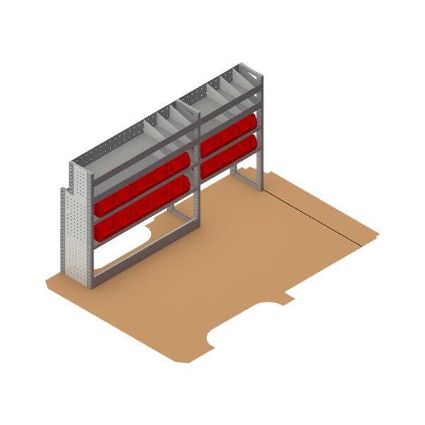 Zevim Bedrijfswageninrichting t.b.v. Mercedes Vito L2H1. Budget opstelling 01 Links rood met magazijnbakken en verdeelschotten, plaatsing ten opzichte van de vloerplaat.